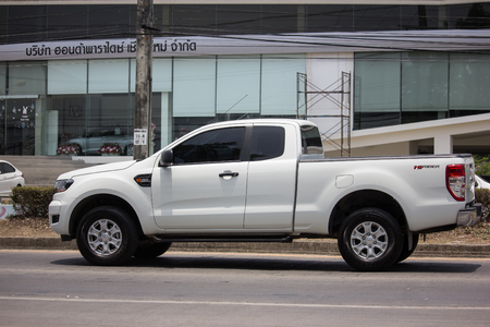 Chiangmai, Thailand - April 30 2019: Private Pickup car, Ford Ranger. On road no.1001, 8 km from Chiangmai city.