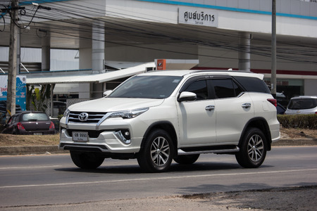 Chiangmai, Thailand - April 30 2019: Private  Toyota Fortuner Suv Car. On road no.1001 8 km from Chiangmai city.