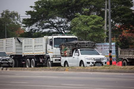Chiangmai, Thailand - April 30 2019: Private Pickup Truck Car  Isuzu Dmax. On road no.1001, 8 km from Chiangmai city.