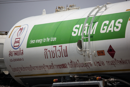 Chiangmai, Thailand - May 17 2019: Siam Gas Company Tank Truck. Photo at road no 1001 about 8 km from downtown Chiangmai, thailand. Editorial
