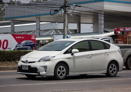 Chiangmai, Thailand - May 17 2019: Private car Toyota Prius Hybrid System. On road no.1001 8 km from Chiangmai Business Area.