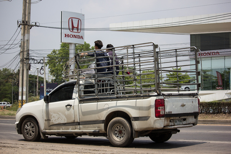 Chiangmai, Thailand - May 17 2019: Private Pickup car, Chevrolet Corolado Duramax. Photo at road no 121 about 8 km from downtown Chiangmai, thailand.