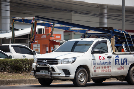 Chiangmai, Thailand - May 17 2019: Private Pickup Truck Car Toyota Hilux Revo. On road no.1001, 8 km from Chiangmai city.