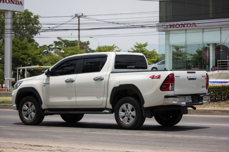 Chiangmai, Thailand - May 21 2019: Private Pickup Truck Car Toyota Hilux Revo. On road no.1001, 8 km from Chiangmai city. Editorial