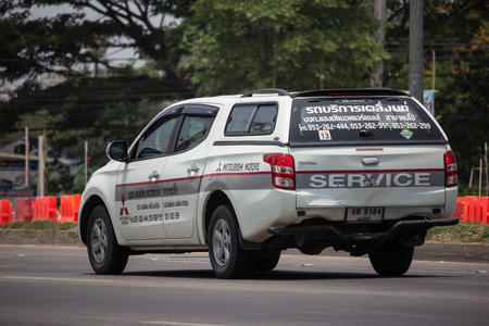 Chiangmai, Thailand - May 21 2019: Mitsubishi Triton Pickup Truck. Mobile Service of Mitsubishi thailand. On road no.1001, 8 km from Chiangmai Business Area.