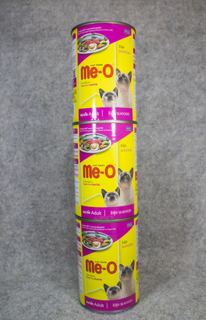 Chiangmai, Thailand - June 1 2019:  Canned Me o cat food. Product of PCG or Perfect Companion Group.