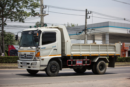 Chiangmai, Thailand - May 23 2019: Private Hino Dump Truck. On road no.1001 8 km from Chiangmai Business Area.
