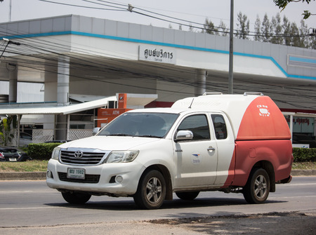 Chiangmai, Thailand - May 23 2019: Truck of Thailand Post. Photo at road no.121 about 8 km from downtown Chiangmai, thailand.