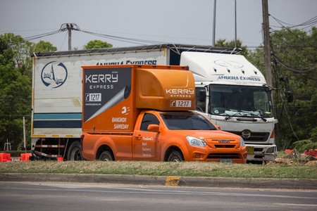 Chiangmai, Thailand - May 23 2019:  Kerry logistic Container Pickup truck.   Photo at road no 121 about 8 km from downtown Chiangmai, thailand. Editorial