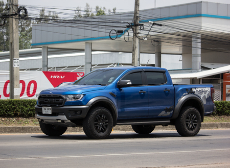 Chiangmai, Thailand - May 23 2019: Private Pickup car, Ford Ranger Raptor. On road no.1001, 8 km from Chiangmai city.
