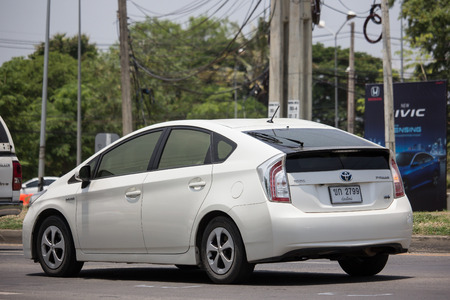 Chiangmai, Thailand - May 23 2019: Private car Toyota Prius Hybrid System. On road no.1001 8 km from Chiangmai Business Area.