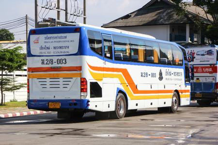 Chiangmai, Thailand - December 26 2012: International bus between Chiangmai (thailand) and Luangprabang (Laos). Photo at Chiangmai bus station, thailand. Редакционное