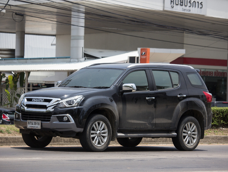 Chiangmai, Thailand - May 23 2019: Private SUV car Isuzu Mu x Mu-x. On road no.1001 8 km from Chiangmai Business Area. Sajtókép