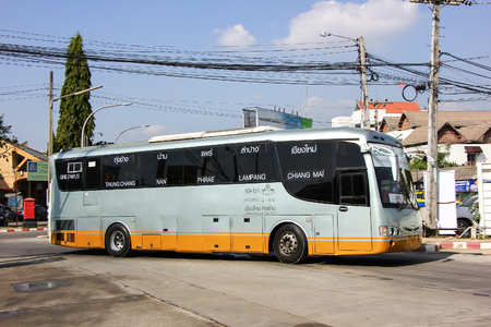 Chiangmai, Thailand - December 26 2012: Bus of Greenbus Company. Green Bus is Big Company for Bus Sevice in North Region of Thailand. Sajtókép