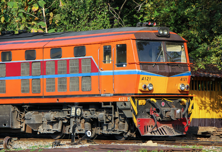 Chiangmai, Thailand - December 26 2012: Old Dlesel Alsthom locomotive no.4121 at chiangmai railway station, thailand.