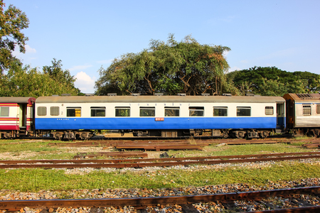Chiangmai, Thailand - December 26 2012: Passenger Car For Train no.52 to Bangkok from Chiangmai. Photo at Chiangmai railway station. Publikacyjne
