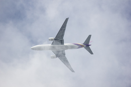 Chiangmai, Thailand - June 3 2019: Boeing 777-200ER HS-TJT of Thai airway. Take off from Chiangmai airport to Bangkok Suvarnabhumi thailand.