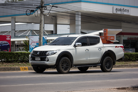 Chiangmai, Thailand - May 23 2019: Private car, Mitsubishi Triton Pickup Truck. On road no.1001, 8 km from Chiangmai Business Area. Sajtókép