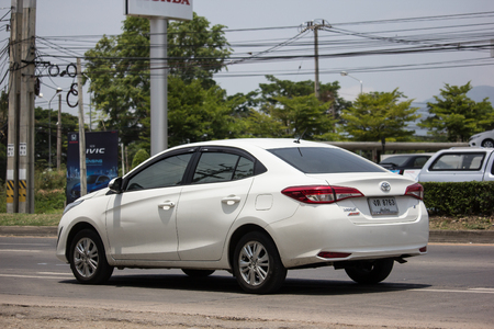Chiangmai, Thailand - May 23 2019: New Private Sedan car toyota Yaris ATIV Eco Car.  Photo at road no 121 about 8 km from downtown Chiangmai thailand.