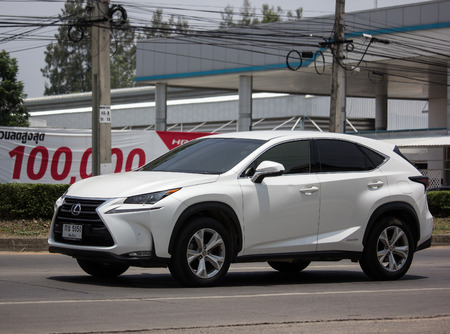 Chiangmai, Thailand - May 23 2019: Private Suv car Lexus NX300.   On road no.1001, 8 km from Chiangmai city. Zdjęcie Seryjne - 124999577