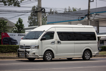 Chiangmai, Thailand - May 23 2019: Private Toyota commuter van. Photo at road no.121 about 8 km from downtown Chiangmai thailand.