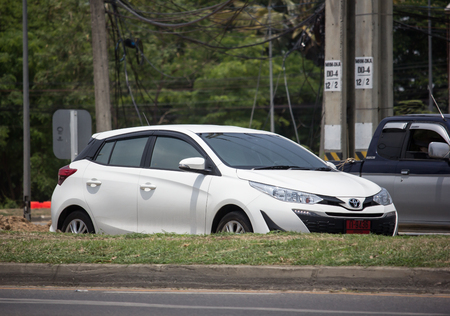 Chiangmai, Thailand - May 23 2019: Private Car toyota Yaris Hatchback Eco Car.  Photo at road no 121 about 8 km from downtown Chiangmai thailand.