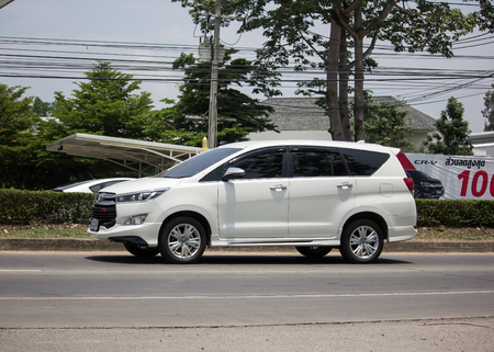 Chiangmai, Thailand - May 23 2019: New Toyota Innova Crysta, PREMIUM CROSSOVER MPV.  Photo at road no 121 about 8 km from downtown Chiangmai, thailand.