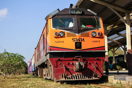 Chiangmai, Thailand - January 23 2013: GE Diesel Locomotive NO 4553. For Train no.52 to Bangkok from Chiangmai. Photo at Chiangmai railway station.