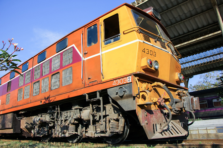 Chiangmai, Thailand - January 23 2013: Old Dlesel Alsthom locomotive no.4303 at chiangmai railway station, thailand.