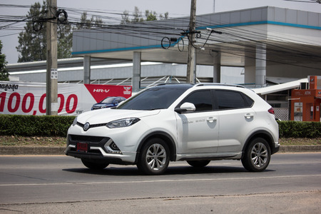 Chiangmai, Thailand - May 23 2019:  Private Suv Car MG GS. Product from British automotive. On road no.1001, 8 km from Chiangmai city.
