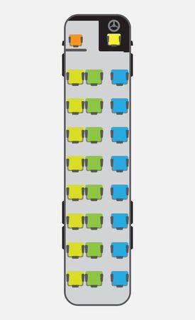 15 Meter bus seat map Vektorgrafik