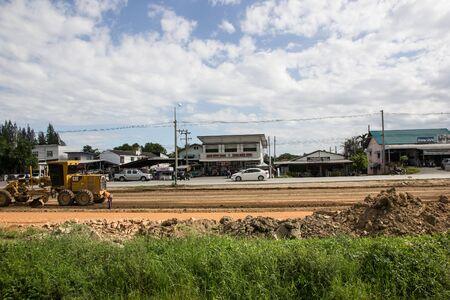 Chiangmai, Thailand - June 21 2019: Construction of new road no.121 outside ring road of chiangmai city.
