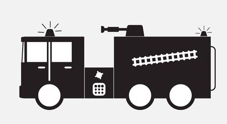 Black and white  fire truck icon vector Illustration