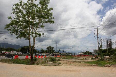 Chiangmai, Thailand - July 7 2019:  Construction of new road no.121 outside ring road of chiangmai city.