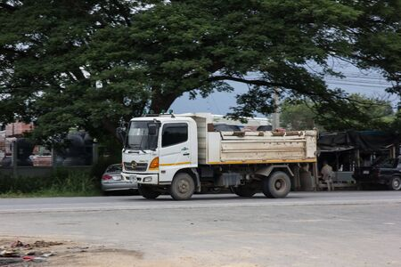 Chiangmai, Thailand - July 9 2019: Private Hino Dump Truck. On road no.1001 8 km from Chiangmai Business Area.