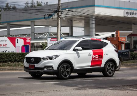 Chiangmai, Thailand - July 11 2019:  Private Suv Car MG ZS. Product from British automotive. On road no.1001, 8 km from Chiangmai city.