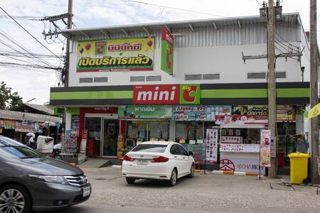 Chiangmai, Thailand - July 11 2019:  New Store of Mini Big C Mini Hypermarket Phudoi. Location or Chiangmai city Urban Fringe. Imagens - 127298365
