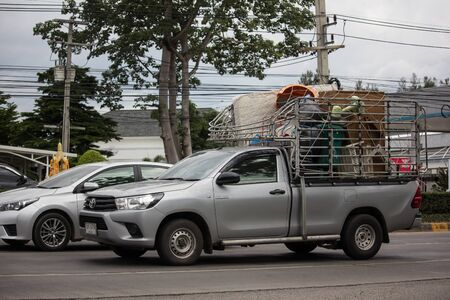 Chiangmai, Thailand - July 11 2019: Private Pickup Truck Car Toyota Hilux Revo. On road no.1001, 8 km from Chiangmai city.