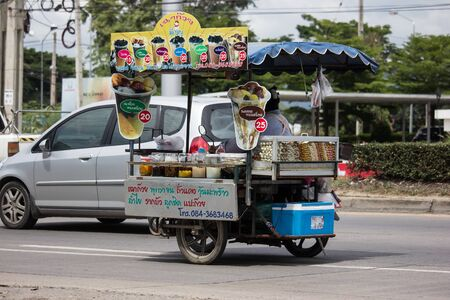 CHIANG MAI, THAILAND -FEBRUARY 8 2018:   Private Motorcycle, mobile sale shop. Photo at road no.121 about 8 km from downtown Chiangmai, thailand. Banque d'images - 126924440