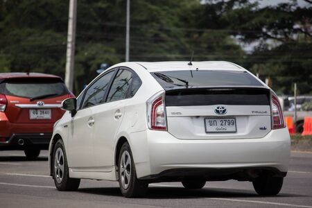 Chiangmai, Thailand - July 15 2019: Private car Toyota Prius Hybrid System. On road no.1001 8 km from Chiangmai Business Area.