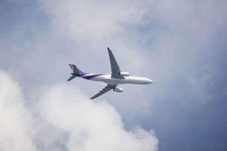 Chiangmai, Thailand - July 20 2019: HS-TBF Airbus A330-300 of Thai Airways. In Flight Chiang mai to Bangkok. Editorial