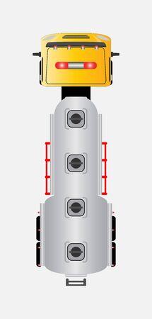 top view oil tank truck Vector car