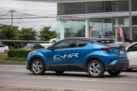 Chiangmai, Thailand - August 9 2019: New Toyota CHR Subcompact Crossover SUV Hybrid Car. Car on road No.121 to Chiangmai City. Editorial
