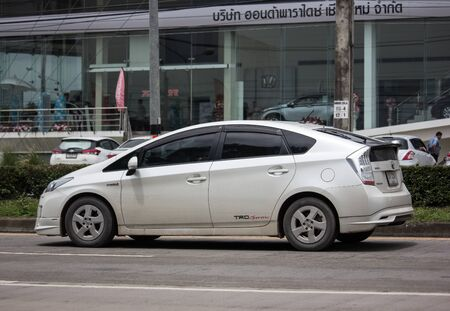 Chiangmai, Thailand - August 16 2019: Private car Toyota Prius Hybrid System. On road no.1001 8 km from Chiangmai Business Area.