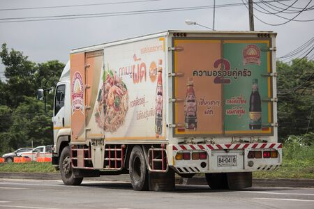 Chiangmai, Thailand - August 16 2019: Container truck of Thai theparos food products public. Photo at road no.121 about 8 km from downtown Chiangmai, thailand. Sajtókép