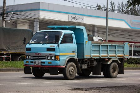 Chiangmai, Thailand - August 20 2019: Private Isuzu Dump Truck. On road no.1001 8 km from Chiangmai Business Area. Editorial