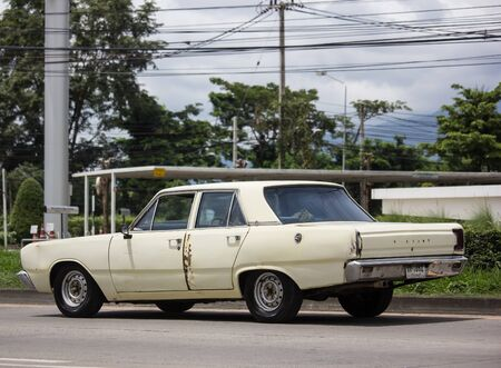 Chiangmai, Thailand - August 29 2019: Old Private Chrysler Valiant Car.  Photo at road no.121 about 8 km from downtown Chiangmai thailand. Editorial