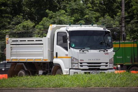 Chiangmai, Thailand - August 22 2019: Private Isuzu Dump Truck. On road no.1001 8 km from Chiangmai Business Area. Editorial