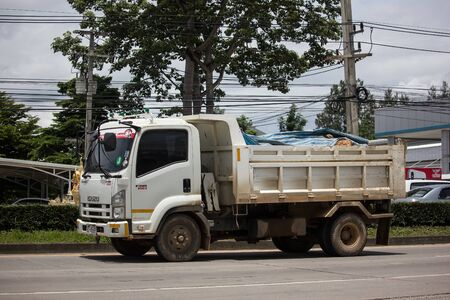 Chiangmai, Thailand - August 22 2019: Private Isuzu Dump Truck. On road no.1001 8 km from Chiangmai Business Area. Redakční