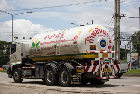 Chiangmai, Thailand - August 22 2019: Gas  Truck of Picnic Orchid gas company. Photo at road no 121 about 8 km from downtown Chiangmai, thailand.